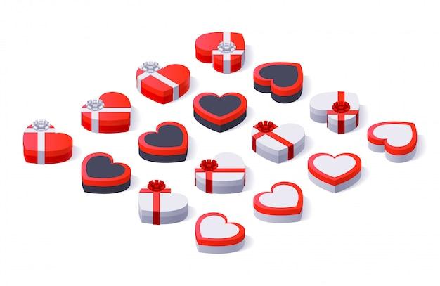 Набор красочных подарочных коробок с бантами и лентами