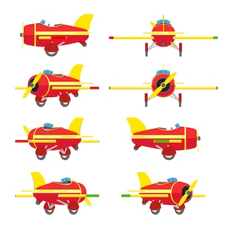 赤と黄色のおもちゃの飛行機