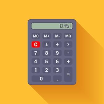 Цифровой черный калькулятор на оранжевом фоне