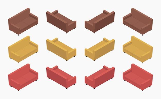 Набор изометрических современных цветных диванов