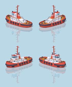 低ポリ赤と白のタグボート