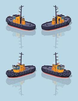 低ポリオレンジと黒のタグボート。