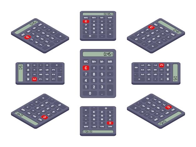 Набор черных изометрических калькуляторов. объекты изолированы на белом фоне и показаны с разных сторон