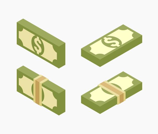 紙幣の等尺性の束のセット