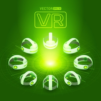 抽象的な円と光と濃い緑色の背景に対して等尺性バーチャルリアリティヘッドセット