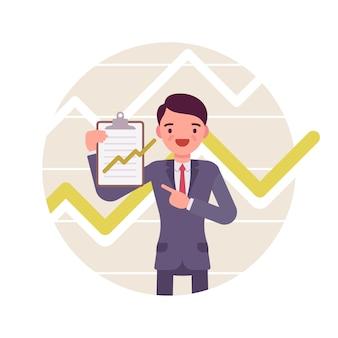 Бизнесмен с буфером обмена. положительные диаграммы и графики