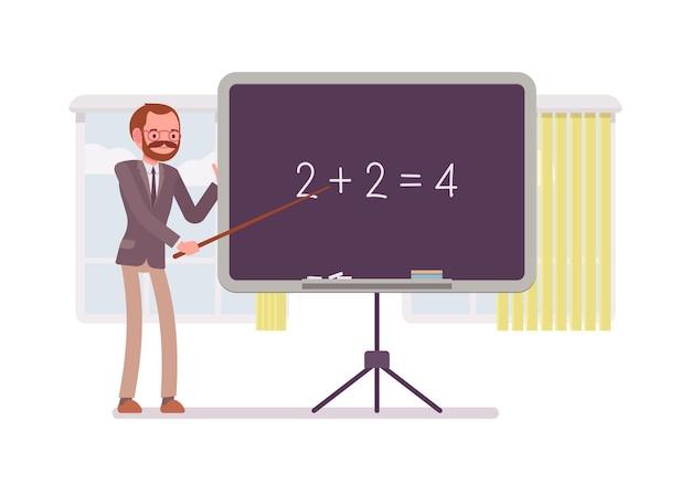 男性の数学教師は数学を教えています