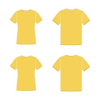 Желтые шаблоны с коротким рукавом футболки