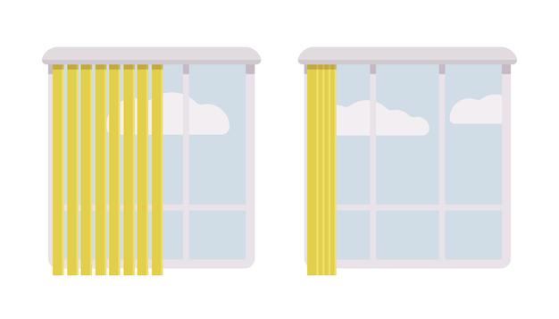 Окна с открытыми и полуоткрытыми жалюзи