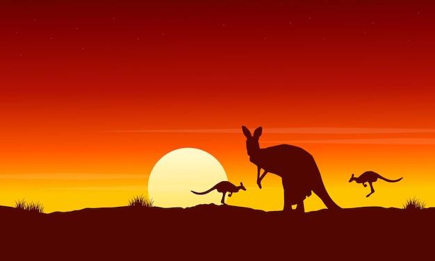日の出の風景のシルエットカンガルー