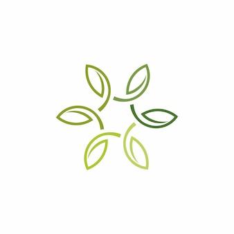 ミニマリストの葉のアウトラインのロゴ