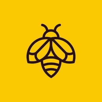 ミニマリストの蜂のアウトラインのロゴ