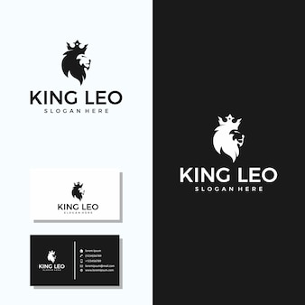 名刺デザインのミニマリストキングレオ(ライオン+クラウン)ロゴ
