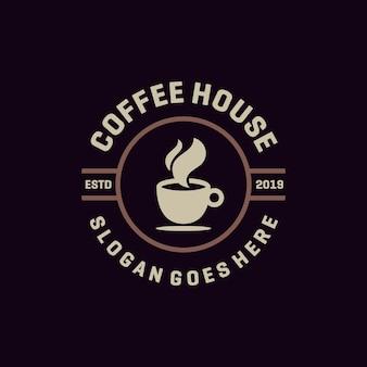 コーヒーハウスエンブレムロゴベクトル
