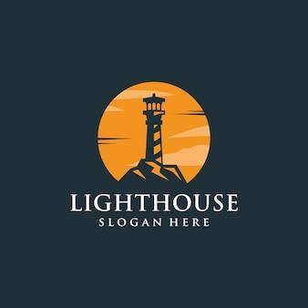 ミニマリストの夕日+灯台ロゴ