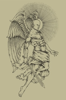 天使の彫刻紋章の紋章の紋章