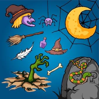 Кладбище хэллоуин мультфильм векторной иллюстрации
