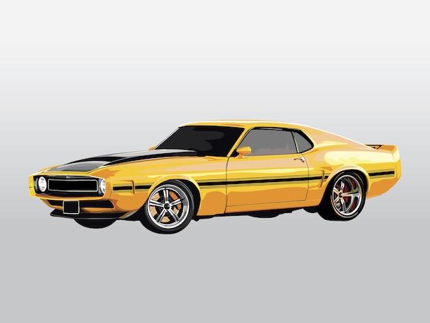 Реалистичный холодный желтый автомобиль подробнее