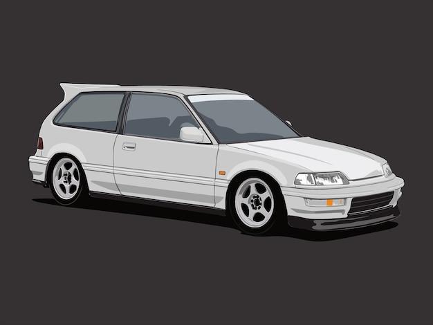 Белый хэтчбек седан автомобиль иллюстрации, изолированных в темно-серый фон