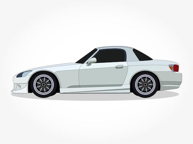 詳細なボディと黒のストロークと影の効果を持つフラットカラー車漫画イラストのリム