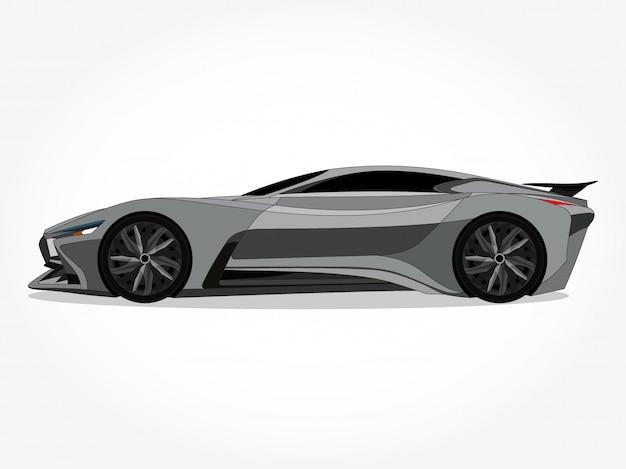 Подробные иллюстрации кузова и ободков плоской цветной машины с черным штрихом и эффектом тени