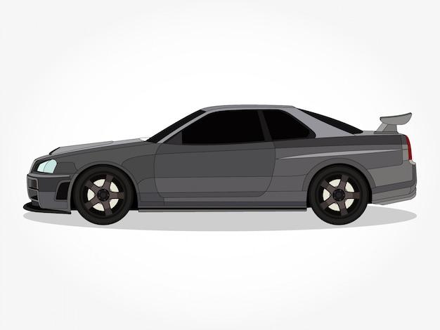 詳細なボディと黒のストロークと影の効果を持つフラット色の車漫画のベクトル図の縁