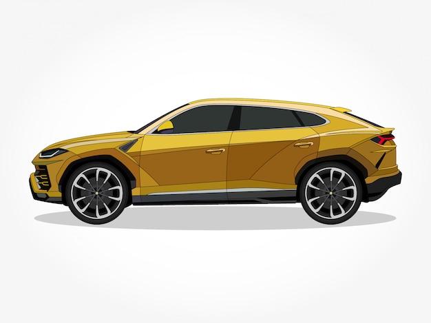 Подробные тела и колесные диски плоских цветных автомобилей мультяшный векторная иллюстрация с черным мазком