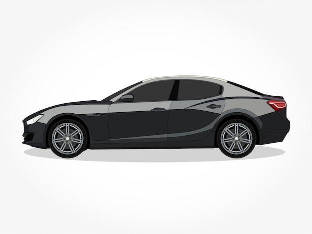 詳細なボディと黒のストロークと影の効果を持つフラットカラー車漫画イラストの縁