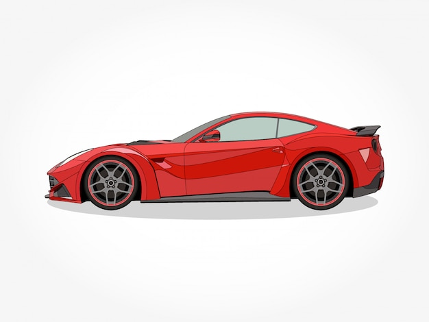 Подробные тела и колесные диски плоских цветных автомобилей мультяшный векторная иллюстрация с черным штрихом и эффект тени