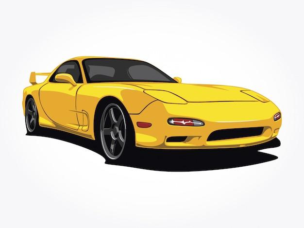 カスタムの黄色い車のイラスト
