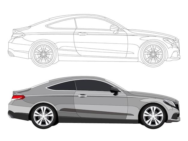 Подробная сторона серого автомобиля седана с возможностью черного хода для настраиваемой книжки цвета