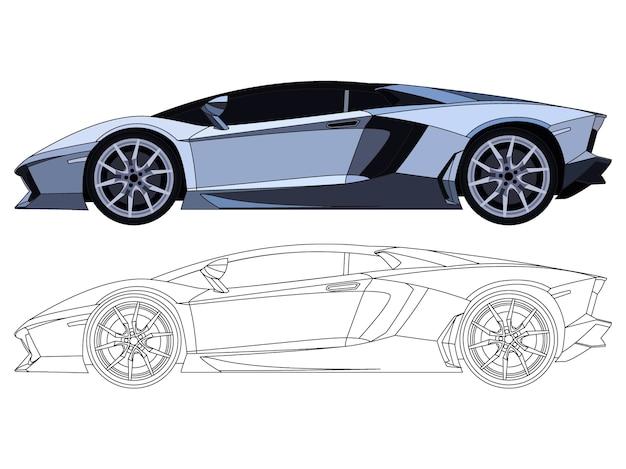 カスタマイズ可能なカラーブックのための黒いストロークオプションの青いスポーツカーの詳細な側面