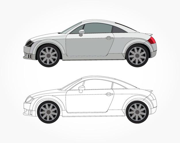 カスタマイズ可能なカラーブックのための黒いストロークオプションを備えた白い都市の車の詳細な側面