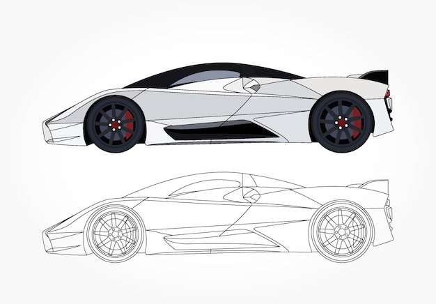 カスタマイズ可能なカラーブックのための黒いストロークオプション付きの白いスポーツカーの詳細な側面