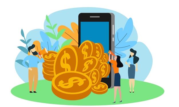 Маленькие люди работают с золотыми монетами. концепция финансового роста. инвестиции в бизнес