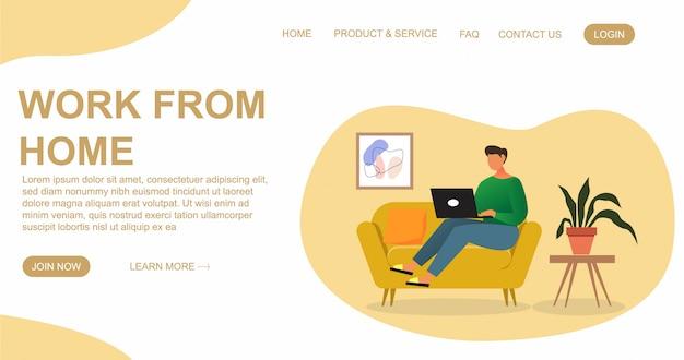Человек сидит с ноутбуком на диване у себя дома. работаю на компьютере. плоский дизайн концепции работы из дома для сайта и шаблона целевой страницы
