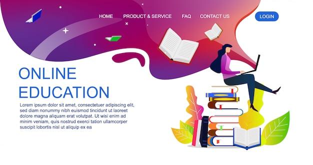 Плоская концепция проекта образования для шаблона вебсайта и целевой страницы. иллюстрация образования онлайн.