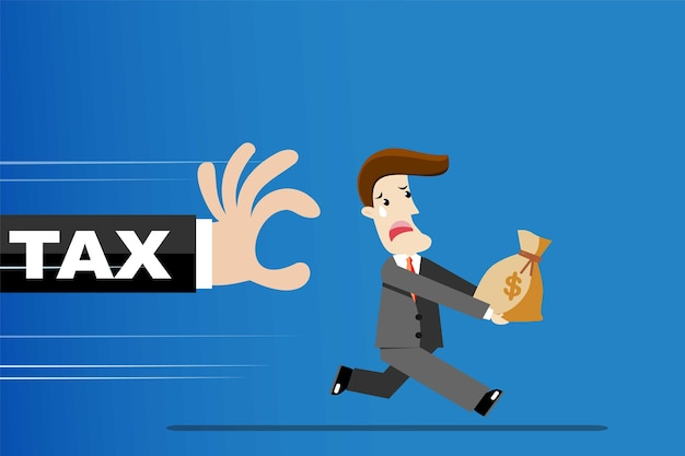 ビジネスマンは税金から離れて走っています。税コンセプト