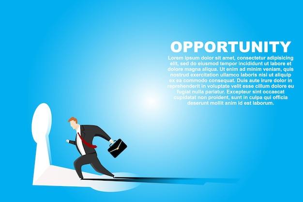 Бизнесмен работает в ключевую дыру. иллюстрация бизнес-концепции