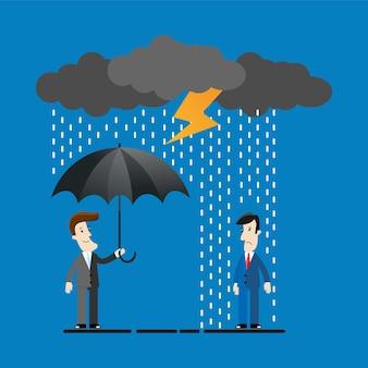 Бизнесмен, стоя с зонтиком под грозой.
