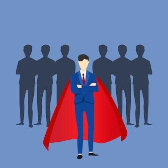 Супер бизнесмен лидер перед своей группой людей. иллюстрация концепции лидера