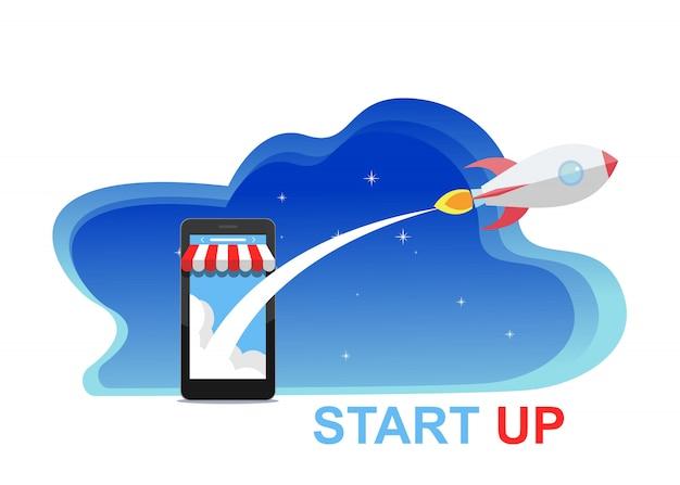 Концепция запуска бизнеса для веб-страницы, баннер, презентации, социальные медиа.