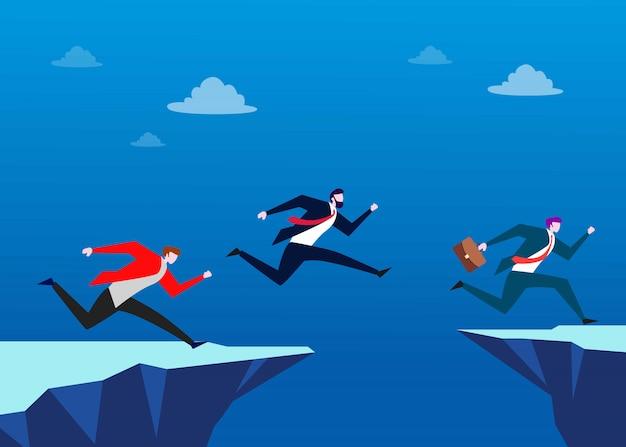 Люди прыгают через пропасть. иллюстрация бизнес-концепции лидерства
