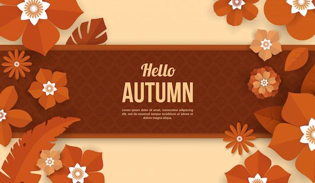Осенний фон с цветочными элементами в стиле бумаги вырезать