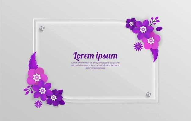ショッピングイベント、休日、挨拶、招待状のガラスフレームテンプレートと花の背景
