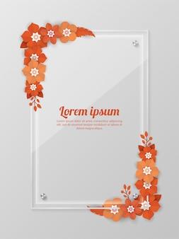 Цветочный фон со стеклянной рамкой шаблона для торговых мероприятий, праздников и поздравительных открыток, пригласительных билетов
