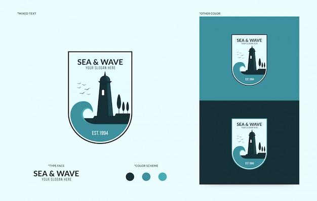 流れる波状の灯台ロゴ、ビジネス向けのクリエイティブな海ロゴタイプ