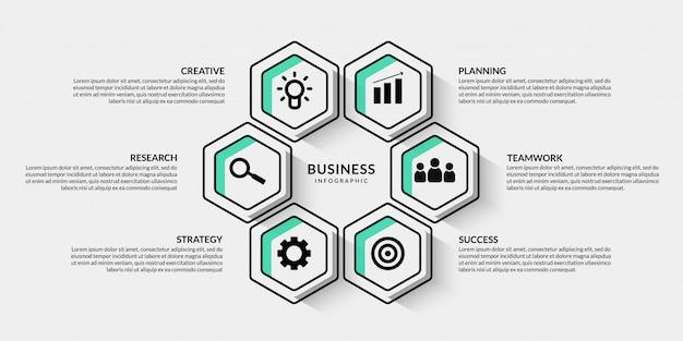 複数のオプションを持つビジネスインフォグラフィック、プレゼンテーションのアウトラインデータ視覚化ワークフロー