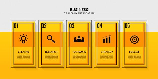 複数のオプションを備えたワークフローインフォグラフィック、ビジネスレポートのデータ通信の概要