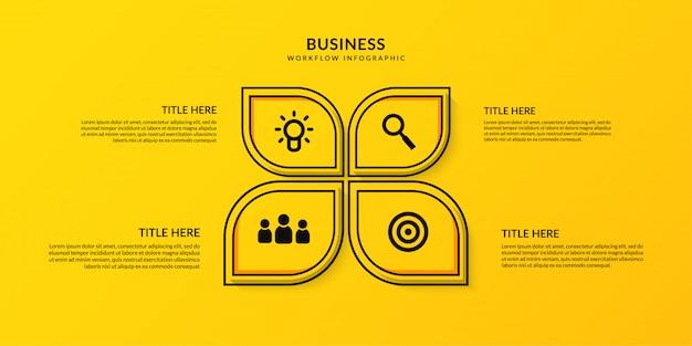 Рабочий процесс инфографики с четырьмя опциональными